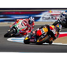Dani Pedrosa and Nicky Hayden at laguna seca 2012 Photographic Print