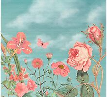 Coral Flowers and Turquoise Sky by Eva Nev