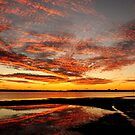 Fire in the Sky - Pumicestone Passage by Barbara Burkhardt