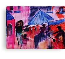 Villiag shopping, watercolor Canvas Print