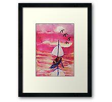 Pink sunset  #1, revised, watercolor Framed Print