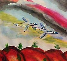 Flying thru a rainbow, watercolor by Anna  Lewis