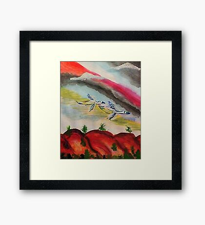 Flying thru a rainbow, watercolor Framed Print