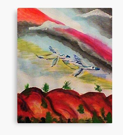Flying thru a rainbow, watercolor Canvas Print