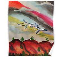 Flying thru a rainbow, watercolor Poster