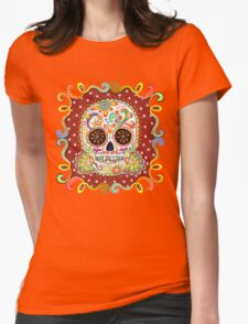 Colorful Day of the Dead Sugar Skull Shirt Womens Fitted T-Shirt