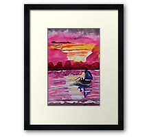 Pink sunset #2, watercolor Framed Print