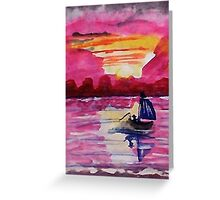 Pink sunset #2, watercolor Greeting Card