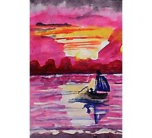 Pink sunset #2, watercolor Photographic Print