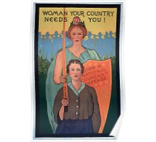 Woman your country needs you! Poster