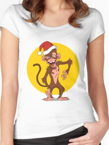cartoon monkey Women's Fitted Scoop T-Shirt