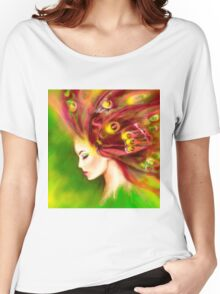 Fantasy Portrait beautiful woman green summer spring butterfly Women's Relaxed Fit T-Shirt