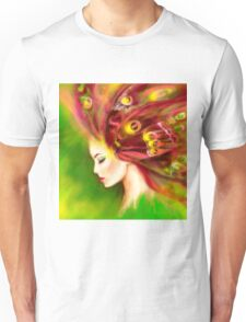 Fantasy Portrait beautiful woman green summer spring butterfly Unisex T-Shirt