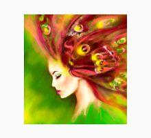 Fantasy Portrait beautiful woman green summer spring butterfly Unisex T-Shirt