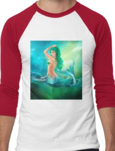 mermaid fantasy at ocean on waves Men's Baseball ¾ T-Shirt