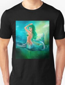 mermaid fantasy at ocean on waves T-Shirt