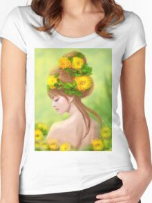 Spring woman in yellow flowers Women's Fitted Scoop T-Shirt