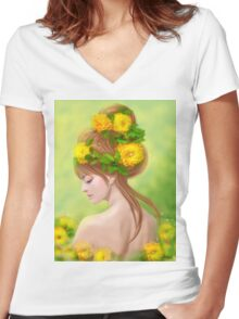 Spring woman in yellow flowers Women's Fitted V-Neck T-Shirt
