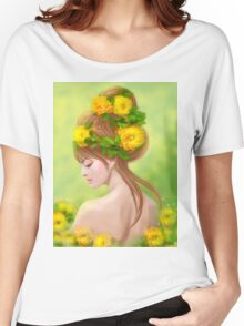 Spring woman in yellow flowers Women's Relaxed Fit T-Shirt