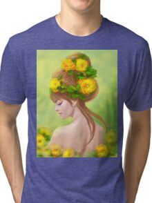 Spring woman in yellow flowers Tri-blend T-Shirt