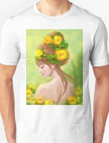 Spring woman in yellow flowers T-Shirt