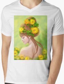 Spring woman in yellow flowers Mens V-Neck T-Shirt