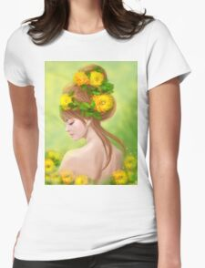 Spring woman in yellow flowers Womens Fitted T-Shirt