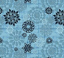Pastel Blue Abstract Retro Flowers Design by artonwear
