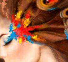 Fantasy Portrait beautiful woman butterfly Sticker