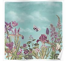 Mauve flowers on turquoise sky background Poster