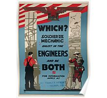 Which Soldier or mechanic Enlist in the Engineers and be both For information apply at 808 Market Street Wilmington Delaware 002 Poster