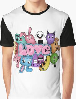 Doodle love - Colors /White Background Graphic T-Shirt