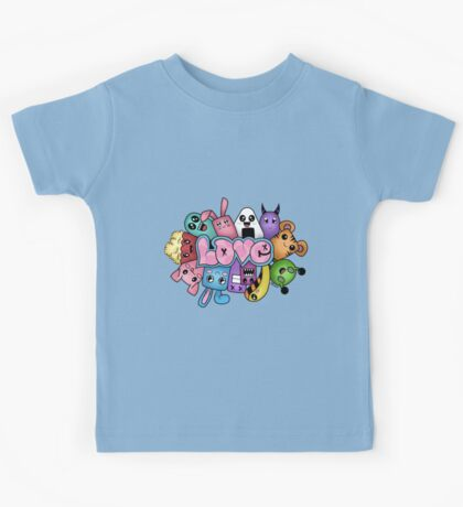 Doodle love - Colors /White Background Kids Tee