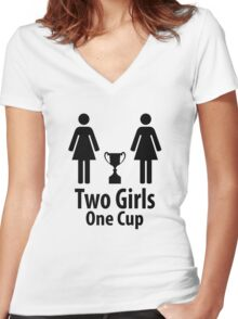 Two Girls One Cup - Parody Women's Fitted V-Neck T-Shirt