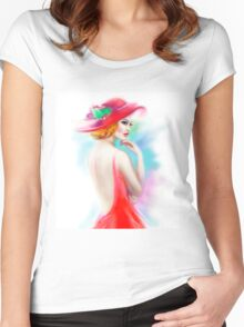 beautiful woman in red hat and a dress Women's Fitted Scoop T-Shirt