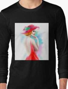 beautiful woman in red hat and a dress Long Sleeve T-Shirt