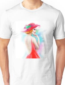 beautiful woman in red hat and a dress Unisex T-Shirt