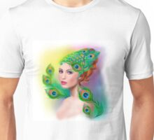 Beautiful Fashion spring woman face.Peacock  Unisex T-Shirt