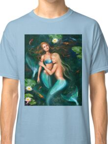 Beautiful fantasy princess mermaids in lake with lilies underwater background Classic T-Shirt