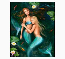 Beautiful fantasy princess mermaids in lake with lilies underwater background Unisex T-Shirt
