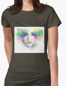 Multicolored abstractn Woman Beautiful portrait illustration Womens Fitted T-Shirt