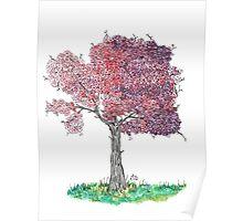 Watercolor Blooming Tree Poster
