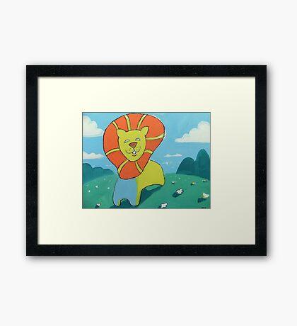 sunshine lion Framed Print