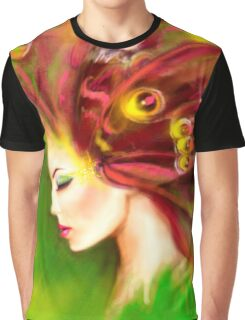 Fantasy Portrait beautiful woman green summer spring butterfly Graphic T-Shirt