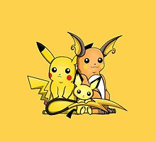 Pichu, Pikachu and Raichu by dtdream