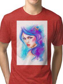 woman fantasy beautiful portrait  Tri-blend T-Shirt