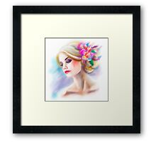 beautiful woman portrait fashion illustration Framed Print