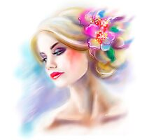 beautiful woman portrait fashion illustration Photographic Print
