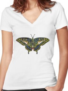 Butterfly Art Women's Fitted V-Neck T-Shirt