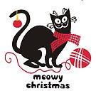 Funny derpy cat scarf yarn knitting crochet Christmas card by BigMRanch